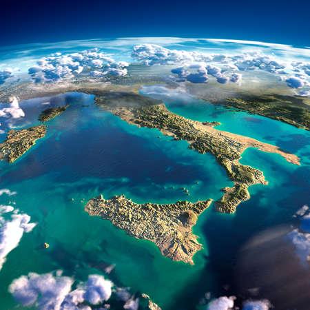 Zeer gedetailleerde fragmenten van de planeet Aarde met overdreven verlichting, doorzichtige oceaan en wolken, verlicht door de ochtendzon Stockfoto
