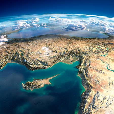 Zeer gedetailleerde fragmenten van de planeet Aarde met overdreven opluchting, doorschijnend oceaan, verlicht door de ochtendzon