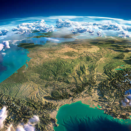 fragments: Highly detailed fragments of the planet Earth with exaggerated relief, translucent ocean and clouds, illuminated by the morning sun  France