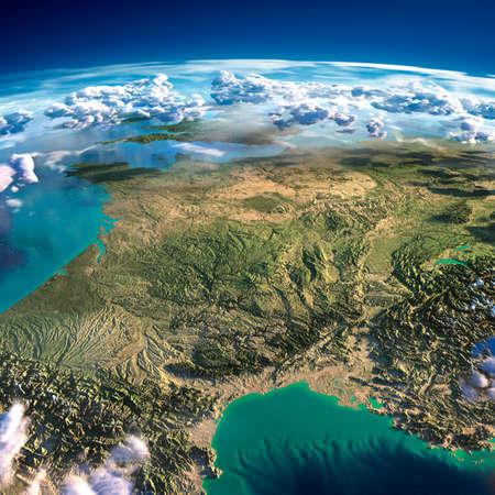 Zeer gedetailleerde fragmenten van de planeet Aarde met overdreven verlichting, doorzichtige oceaan en wolken, verlicht door de ochtendzon Frankrijk Stockfoto