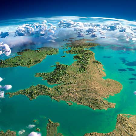아침 조명에 의해 과장된 구호, 반투명 바다와 구름과 지구의 매우 상세한 조각, 태양, 영국, 아일랜드