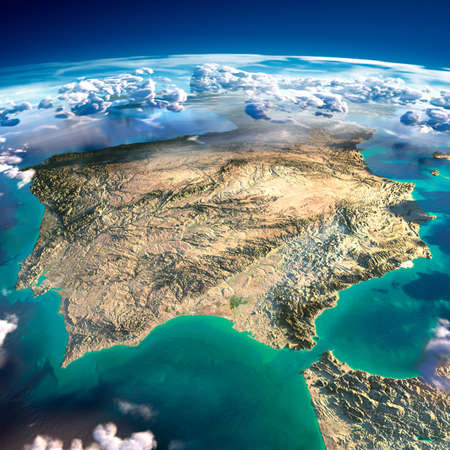 malaga: Highly detailed fragments of the planet Earth with exaggerated relief, translucent ocean and clouds, illuminated by the morning sun  Spain and Portugal   Stock Photo