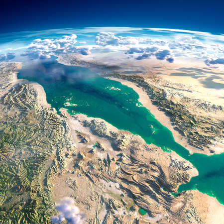 aden: Highly detailed fragments of the planet Earth with exaggerated relief, translucent ocean and clouds, illuminated by the morning sun  Red Sea