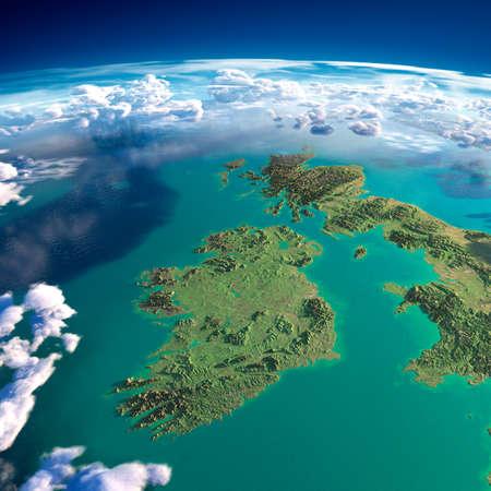 Zeer gedetailleerde fragmenten van de planeet Aarde met overdreven opluchting, doorschijnend oceaan en wolken, verlicht door de ochtendzon Ierland en het Verenigd Koninkrijk