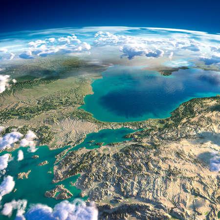 Zeer gedetailleerde fragmenten van de planeet Aarde met overdreven opluchting, doorschijnend oceaan en wolken, verlicht door de ochtendzon Turkije Zee van Marmara Stockfoto