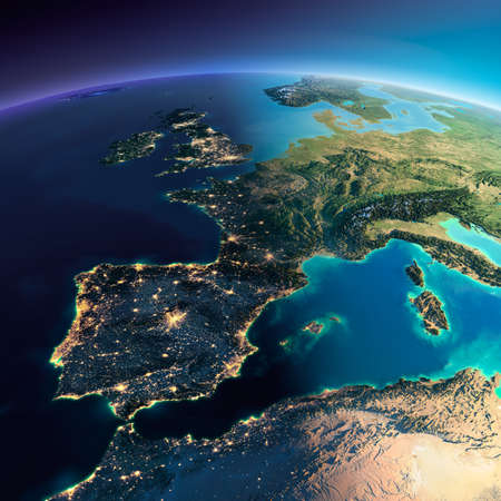 Highly detailed planet Earth. Night with glowing city lights gives way to day. The boundary of the night & day. Part of Europe, the Mediterranean Sea. Elements of this image furnished by NASA Foto de archivo