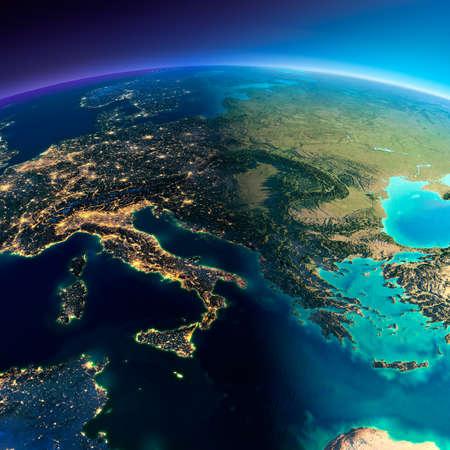 Zeer gedetailleerde planeet Aarde. Nacht met gloeiende lichten van de stad maakt plaats voor de dag. De grens van de nacht en dag. Italië, Griekenland en de Middellandse Zee. Elementen van deze afbeelding geleverd door NASA