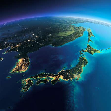 非常に詳細な惑星地球。輝く街の明かりの夜日にくずれます。夜 & 日の境界。アジア、日本、韓国、日本の海の一部です。このイメージの NASA によ