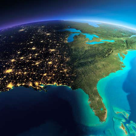 Zeer gedetailleerde planeet Aarde. Nacht met gloeiende stadslichten geeft manier om de dag. De grens van de nacht en dag. Noord Amerika. VS. Golf van Mexico en Florida. Elementen van deze afbeelding geleverd door NASA
