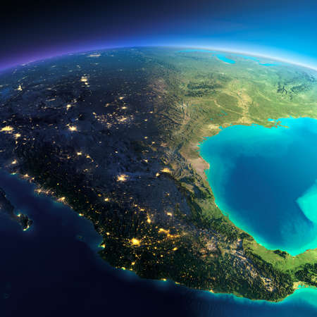 Highly detailed planet Earth. Night with glowing city lights gives way to day. The boundary of the night & day. Mexico. Elements of this image furnished by NASA