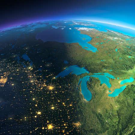 Zeer gedetailleerde planeet Aarde. Night met gloeiende stadslichten geeft manier om de dag. De begrenzing van de nacht en dag. De noordelijke staten van de VS en Canada. Elementen van deze afbeelding geleverd door NASA