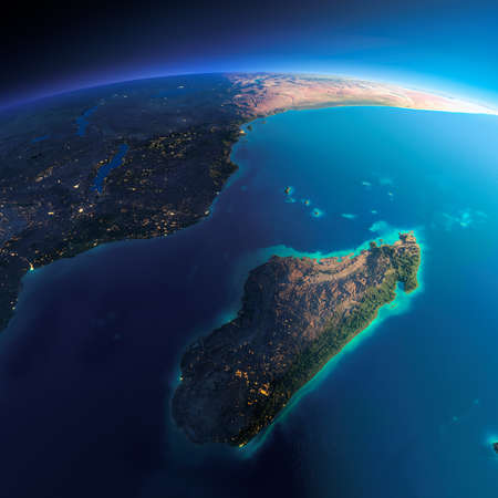 tanganyika: Highly detailed planet Earth. Night with glowing city lights gives way to day. The boundary of the night & day. Africa and Madagascar. Elements of this image furnished by NASA