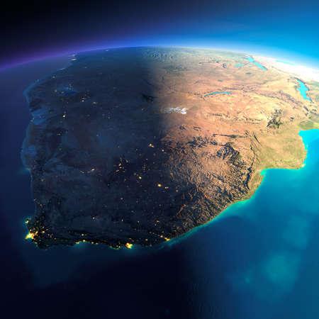 mapa de africa: El planeta Tierra altamente detallado. Noche con las luces brillantes de la ciudad da paso a día. El límite de la noche y día. Sudáfrica. Los elementos de esta imagen proporcionada por la NASA