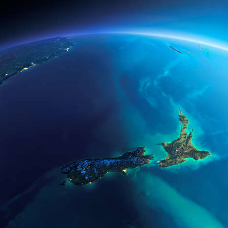 Zeer gedetailleerde planeet Aarde. Night met gloeiende stadslichten geeft manier om de dag. De begrenzing van de nacht en dag. Nieuw Zeeland. Elementen van deze afbeelding geleverd door NASA