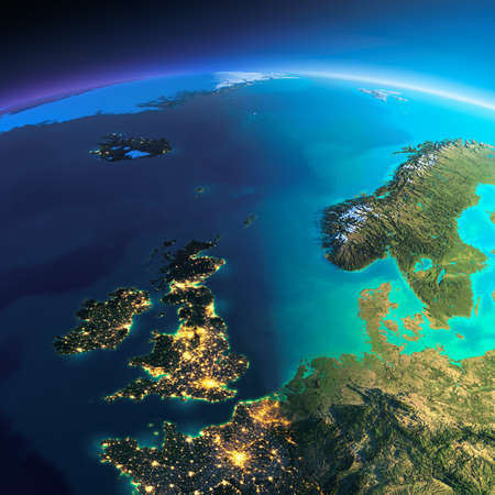 Highly detailed planet Earth. Night with glowing city lights gives way to day. The boundary of the night & day. United Kingdom and the North Sea. Elements of this image furnished by NASA Stock Photo