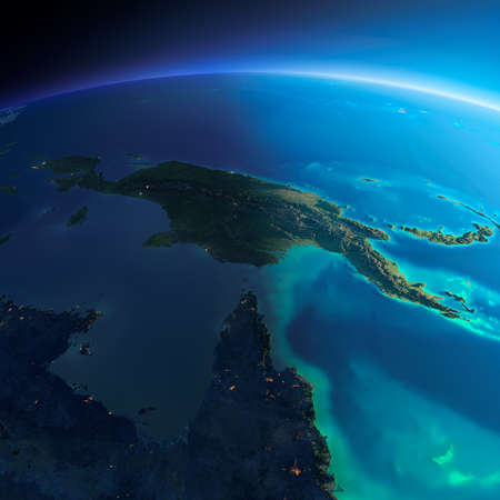 papua: Highly detailed planet Earth. Night with glowing city lights gives way to day. The boundary of the night & day. Australia and Papua New Guinea. Elements of this image furnished by NASA Stock Photo