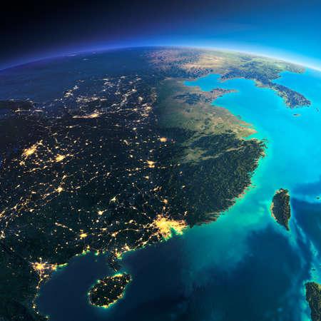 Zeer gedetailleerde planeet Aarde. Nacht met gloeiende stadslichten geeft manier om de dag. De grens van de nacht en dag. Oosten van China en Taiwan. Elementen van deze afbeelding geleverd door NASA
