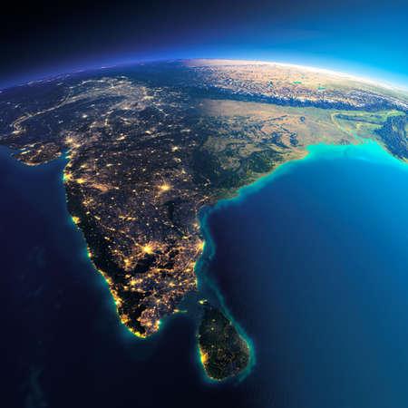 非常に詳細な惑星地球。輝く街の明かりの夜日にくずれます。夜 & 日の境界。 インドとスリランカ。このイメージの NASA によって家具の要素