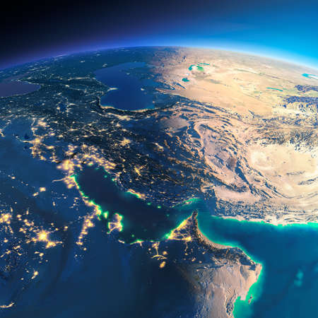 Highly detailed planet Earth. Night with glowing city lights gives way to day. The boundary of the night & day. Persian Gulf. Elements of this image furnished by NASA