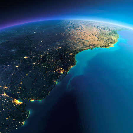 buenos: Highly detailed planet Earth. Night with glowing city lights gives way to day. The boundary of the night & day. South America. Rio de La Plata. Elements of this image furnished by NASA Stock Photo