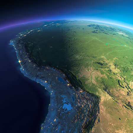Highly detailed planet Earth. Night with glowing city lights gives way to day. The boundary of the night & day. Bolivia, Peru, Brazil. Elements of this image furnished by NASA 写真素材