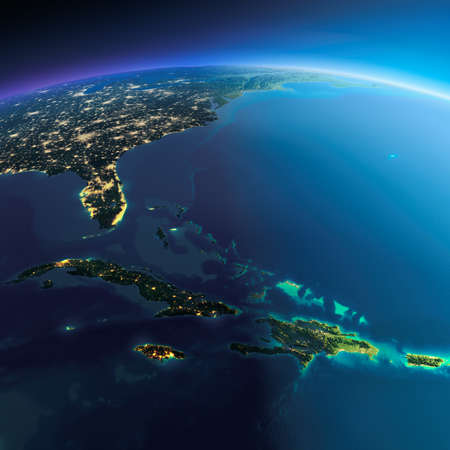 Highly detailed planet Earth. Night with glowing city lights gives way to day. The boundary of the night & day. Caribbean islands. Cuba, Haiti, Jamaica. Elements of this image furnished by NASA