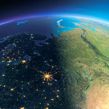 매우 상세한 행성 지구. 빛나는 도시의 불빛 밤은 하루에 방법을 제공합니다. 밤 & 일의 경계. 러시아의 유럽 부분입니다. NASA가 제공 한이 이미지의