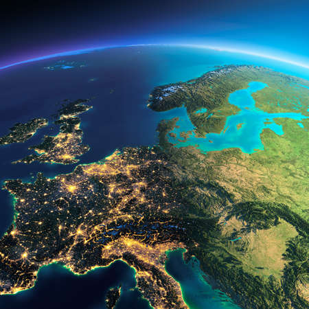 geography of europe: Highly detailed planet Earth. Night with glowing city lights gives way to day. The boundary of the night & day. Central Europe. Elements of this image furnished by NASA Stock Photo