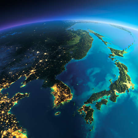 非常に詳細な惑星地球。輝く街の明かりの夜日にくずれます。夜 & 日の境界。韓国、日本。このイメージの NASA によって家具の要素