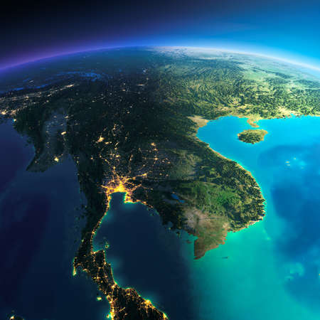 Highly detailed planet Earth. Night with glowing city lights gives way to day. The boundary of the night & day. Indochina peninsula. Elements of this image furnished by NASA