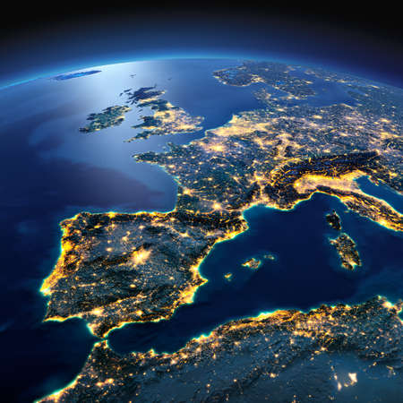 Night planet Earth with precise detailed relief and city lights illuminated by moonlight. Part of Europe, the Mediterranean Sea. Elements of this image furnished by NASA