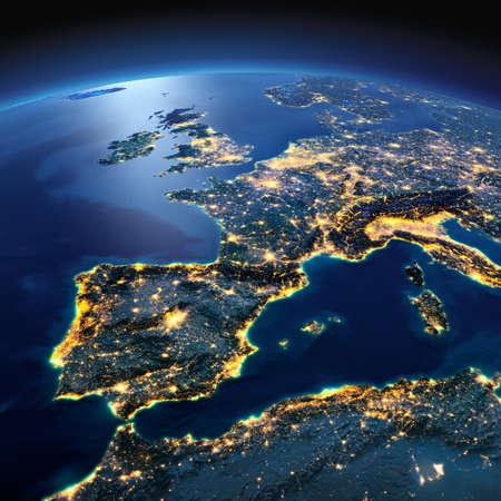 horizonte: Noche planeta Tierra con luces de socorro y de la ciudad de una manera precisa iluminadas por la luz de la luna. Parte de Europa, el Mar Mediterr�neo. Los elementos de esta imagen proporcionada por la NASA