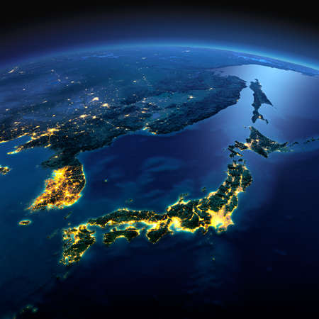 Night planet Earth with precise detailed relief and city lights illuminated by moonlight. Part of Asia, Japan and Korea, Japanese sea.