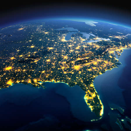 Night planet Earth with precise detailed relief and city lights illuminated by moonlight. North America. USA. Gulf of Mexico and Florida. Elements of this image furnished by NASA 스톡 콘텐츠