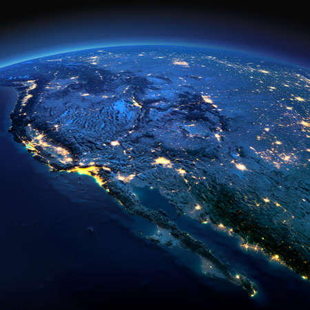 Night planet Earth with precise detailed relief and city lights illuminated by moonlight. Gulf of California, Mexico and the western U.S. states.