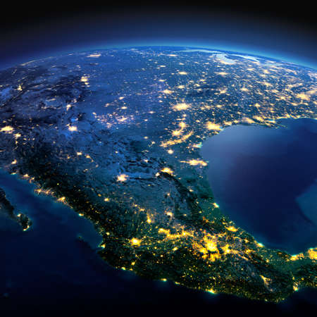 Night planet Earth with precise detailed relief and city lights illuminated by moonlight. Mexico.