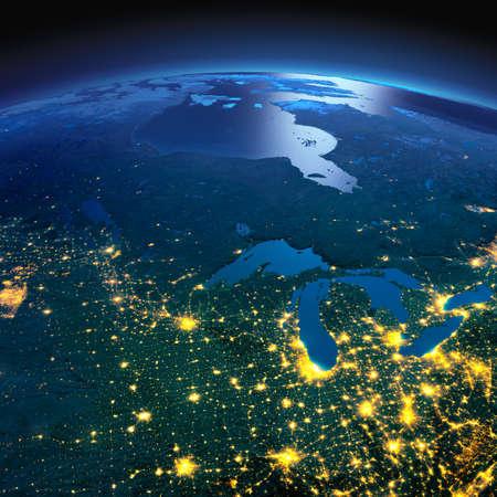 正確なと夜地球は、月明かりで照らされた救済と都市のライトを詳しく説明します。北米国およびカナダ。NASA から提供されたこのイメージの要素