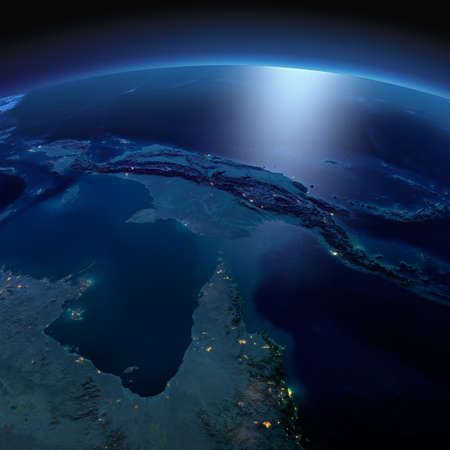 papua: Night planet Earth with precise detailed relief and city lights illuminated by moonlight. Australia and Papua New Guinea.