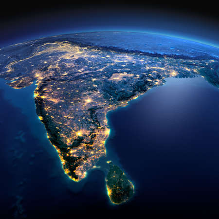 Night planet Earth with precise detailed relief and city lights illuminated by moonlight. India and Sri Lanka.  Archivio Fotografico
