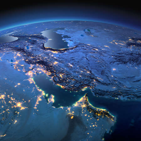 Night planet Earth with precise detailed relief and city lights illuminated by moonlight. Persian Gulf.