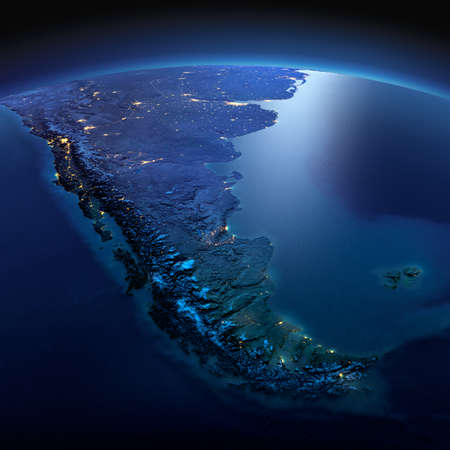 tierra del fuego: Night planet Earth with precise detailed relief and city lights illuminated by moonlight. South America. Tierra del Fuego. Stock Photo