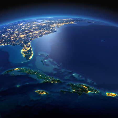 Nacht Planet Erde mit genauen Detailentlastung und die Lichter der Stadt bei Mondlicht beleuchtet. Südamerika. Karibischen Inseln. Kuba, Haiti, Jamaika. Elemente dieses Bildes von der NASA eingerichtet Standard-Bild