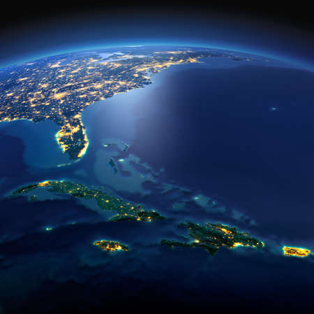 Night planet Earth with precise detailed relief and city lights illuminated by moonlight. South America. Caribbean islands. Cuba, Haiti, Jamaica. Elements of this image furnished by NASA 스톡 콘텐츠
