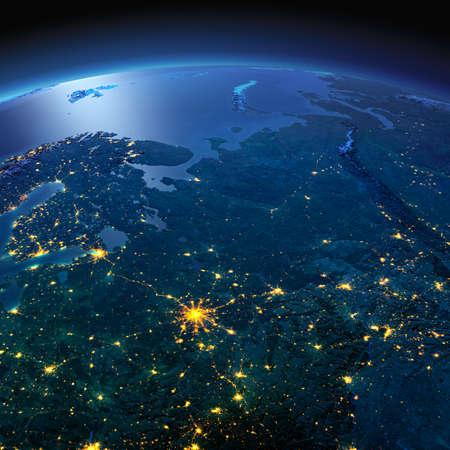 正確なと夜地球は、月明かりで照らされた救済と都市のライトを詳しく説明します。ロシアのヨーロッパの部分。NASA から提供されたこのイメージの