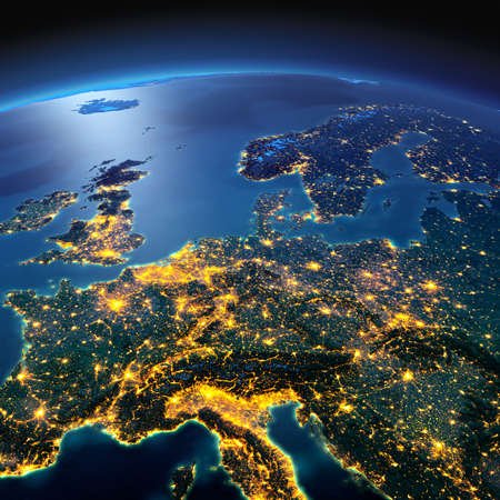 Night planet Earth with precise detailed relief and city lights illuminated by moonlight. Central Europe. Elements of this image furnished by NASA Stok Fotoğraf - 50372680