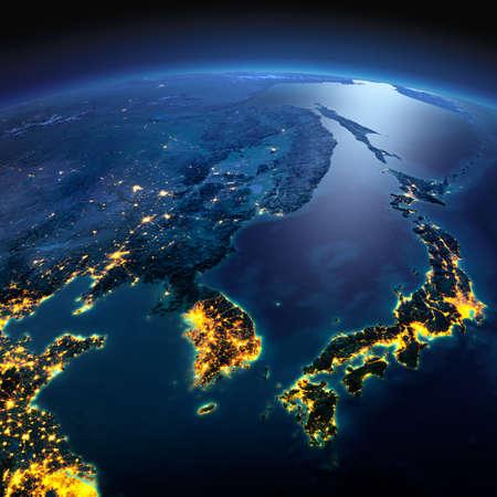 正確なと夜地球は、月明かりで照らされた救済と都市のライトを詳しく説明します。韓国と日本。NASA から提供されたこのイメージの要素