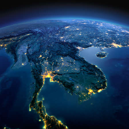 Night planet Earth with precise detailed relief and city lights illuminated by moonlight. Indochina peninsula. Elements of this image furnished by NASA