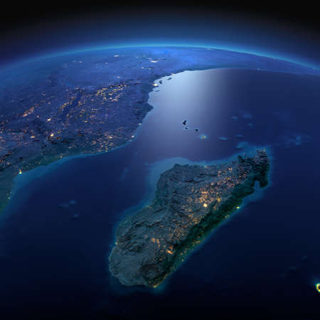 Night planet Earth with precise detailed relief and city lights illuminated by moonlight. Africa and Madagascar. Elements of this image furnished by NASA Stock Photo