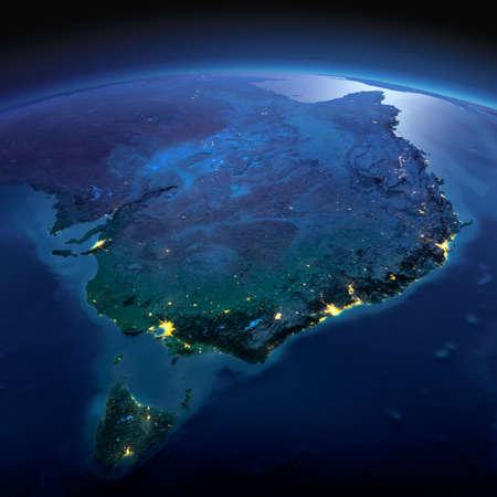 正確なと夜地球は、月明かりで照らされた救済と都市のライトを詳しく説明します。オーストラリア、タスマニア。NASA から提供されたこのイメージ