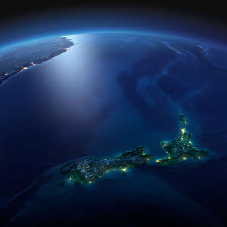 Night planet Earth with precise detailed relief and city lights illuminated by moonlight. New Zealand. Elements of this image furnished by NASA